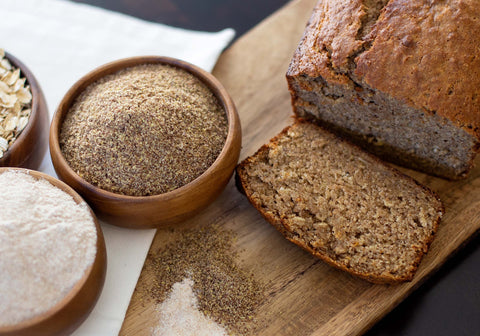 whole wheat banana bread with milled flax
