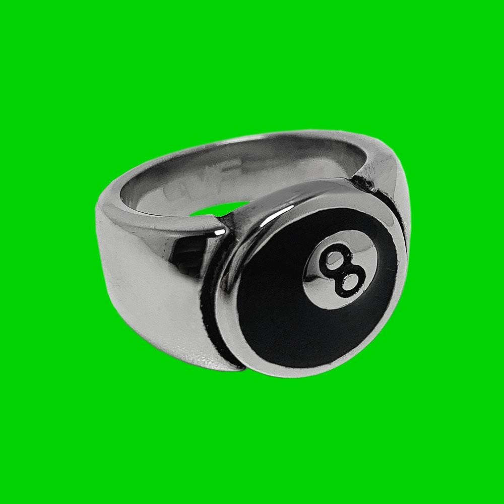 Personal Fears 8 Ball Steel Ring Stainless Steel Jewelry