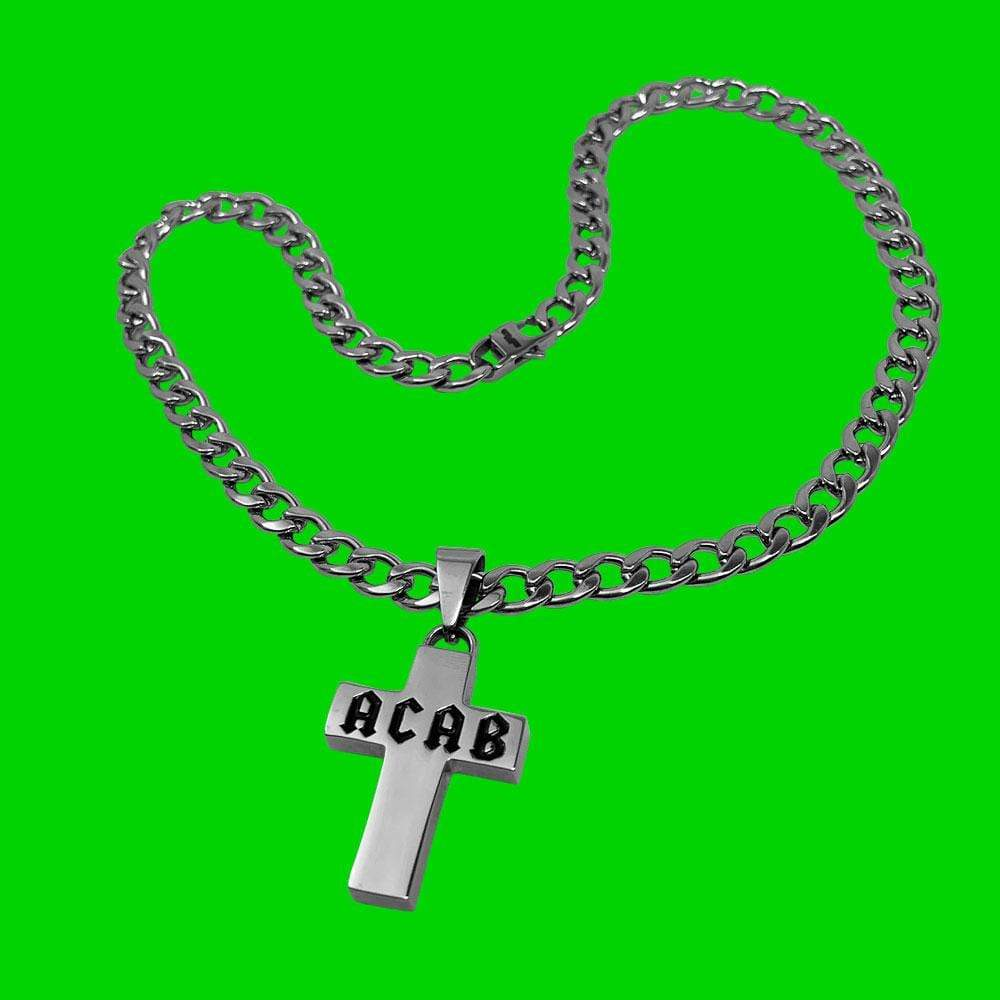 Personal Fears chain ACAB Cross Chain Necklace Stainless Steel Jewelry