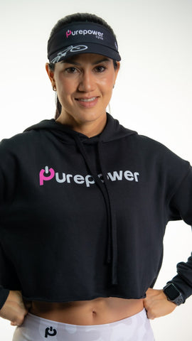 🚲 PurePower Cycle | Women's Black Crop Hoodie | Best price 2021
