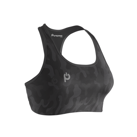 🚲 PurePower Cycle | Women's Black Camo Sports Bra | Best price 2021