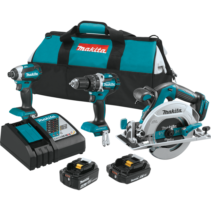 Makita XT333X1 18V LXT Lithium‑Ion Brushless Cordless 3-Tool Combo Kit Image 1