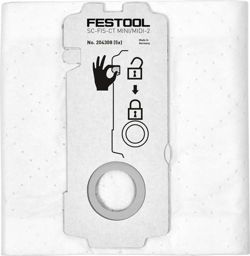 Festool 204308 Self-Cleaning Filter Bag  5-Pack