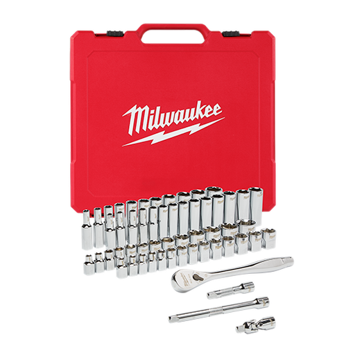 "Milwaukee 48-22-9008 3/8"" Drive 56pc Ratchet & Socket Set - SAE & Metric Image 1"