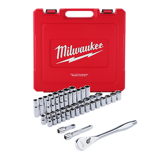 "Milwaukee 48-22-9010 1/2"" Drive 47pc Ratchet and Socket Set Ð SAE & Metric Image 1"