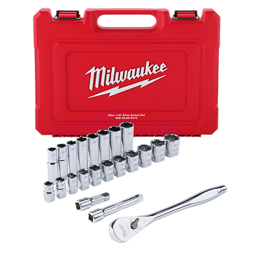 "Milwaukee 48-22-9410 1/2"" Drive 22pc Ratchet & Socket Set - SAE Image 1"