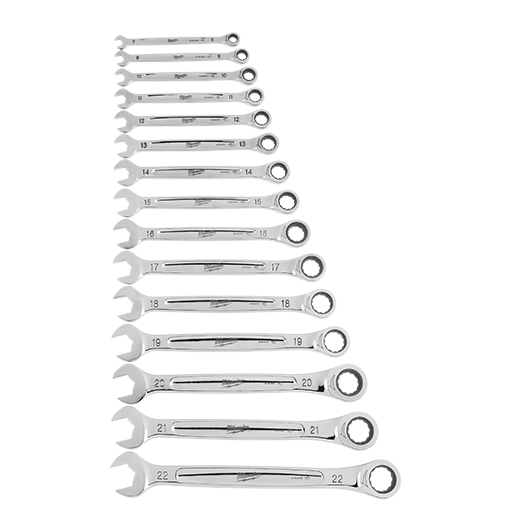 Milwaukee 48-22-9516 15 Piece Ratcheting Combination Wrench Set - Metric - Image 1
