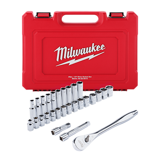 "Milwaukee 48-22-9510 1/2"" Drive 28pc Ratchet & Socket Set - Metric Image 1"
