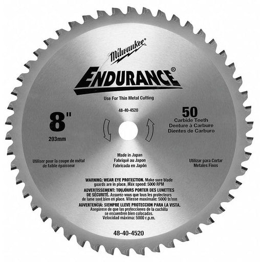 "Milwaukee 48-40-4520 8"" Thin Metal Cutting Circular Saw Blade"