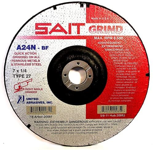 "United Abrasives - Sait 20081 7"" x 1/4"" Quick Action Grinding Wheel"