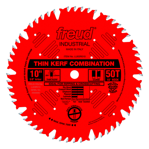 "Freud LU83R010 10"" Coated Thin Kerf Combination Blade"