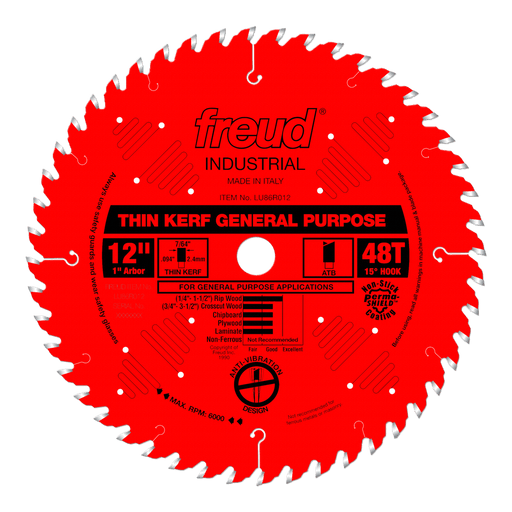 "Freud LU86R012 12"" Coated Thin Kerf General Purpose Blade"