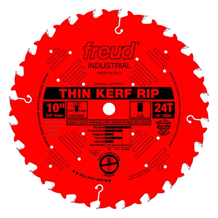 "Freud LU87R010 10"" Coated Thin Kerf Rip Saw Blade"