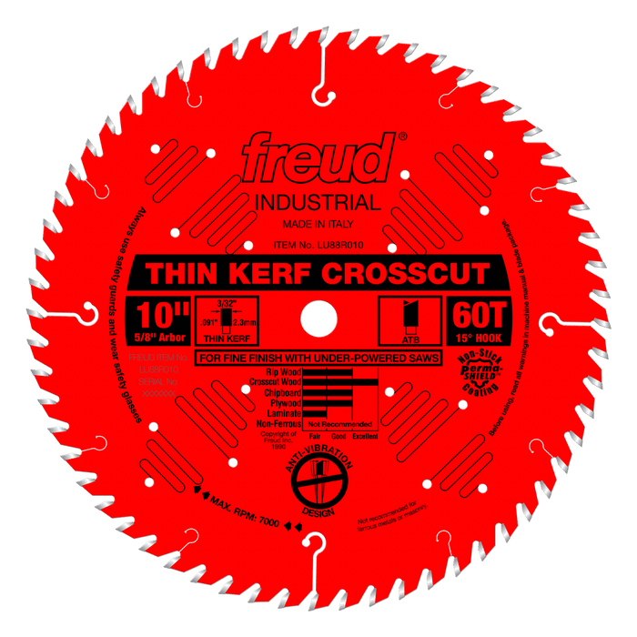 "Freud LU88R010 10"" Coated Thin Kerf Crosscut Blade"