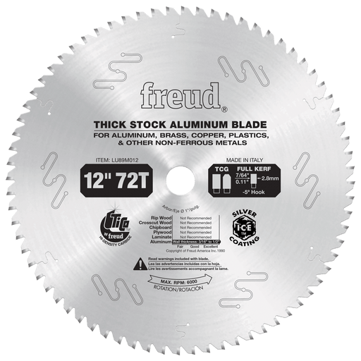 "Freud LU89M012 12"" Thick Stock Nonferrous Metal Saw Blade"