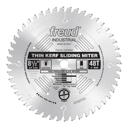 "Freud LU91M008 8-1/2"" Thin Kerf Sliding Compound Miter Saw Blade"