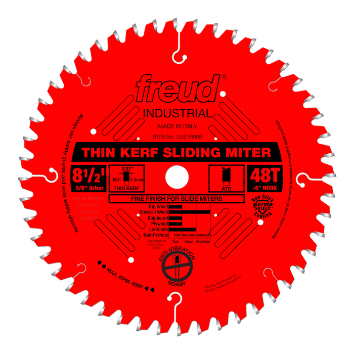 "Freud LU91R008 8-1/2"" Coated Thin Kerf Sliding Compound Miter Saw Blade"