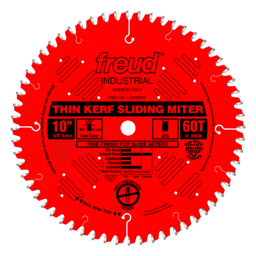 "Freud LU91R010 10"" Coated Thin Kerf Sliding Compound Miter Saw Blade"