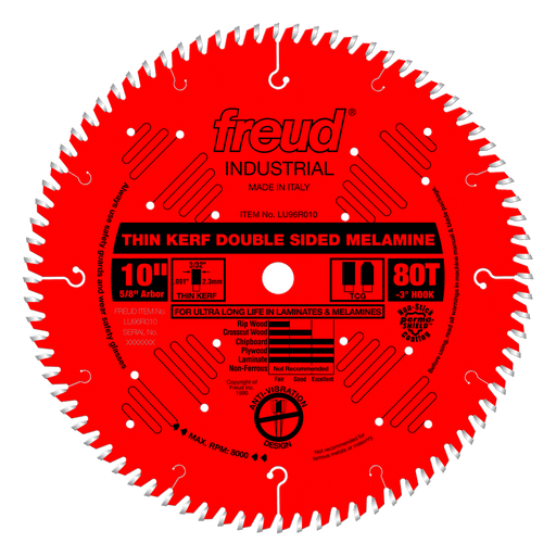 "Freud LU96R010 10"" Coated Thin Kerf Double Sided Laminate / Melamine Saw Blade"