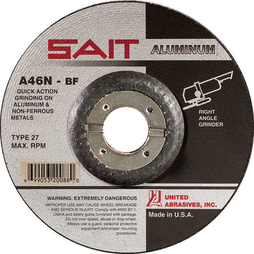"United Abrasives - Sait 20062 4-1/2"" x 1/4"" Aluminum Grinding Wheel"
