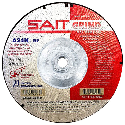 "United Abrasives - Sait 20085 7"" x 1/4"" Quick Action Grinding Wheel"
