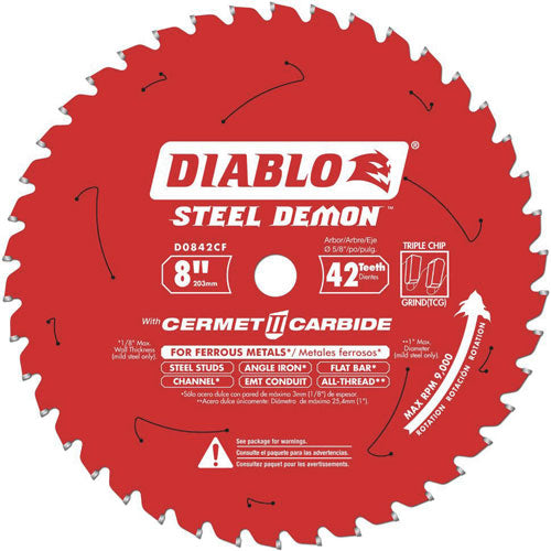 "Diablo D0842CF 8"" Steel Demon Cermet II Carbide Non-Ferrous Saw Blade"