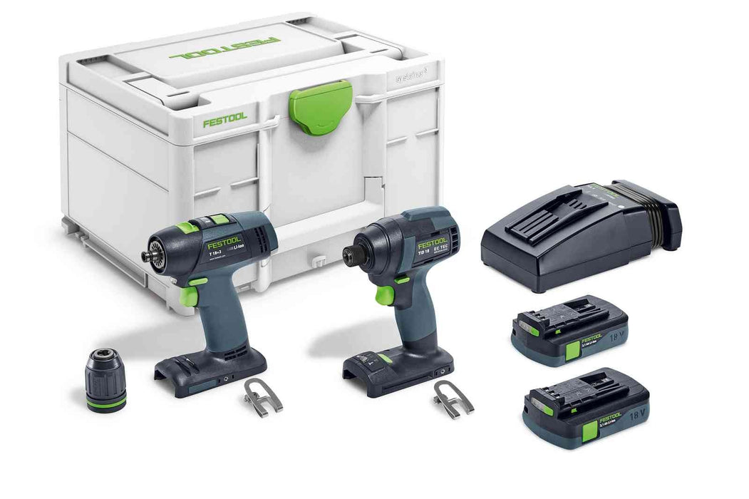 Festool 576494 TID 18 Impact Driver and T 18 Drill Driver 4.0Ah Combo Kit