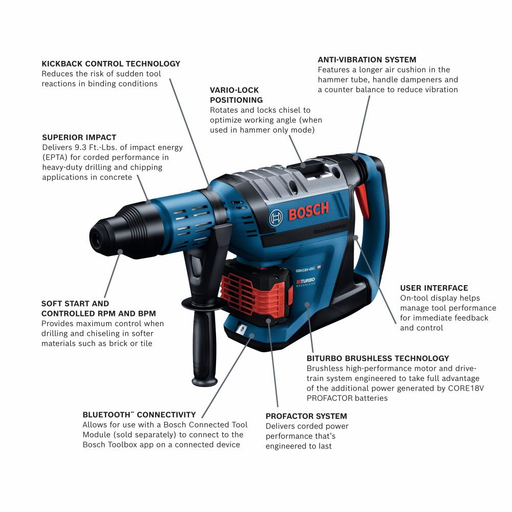 "Bosch GBH18V-45CK24 PROFACTOR 18V Hitman Connected-Ready SDS-Max 1-7/8"" Rotary Hammer Kit - Image 2"