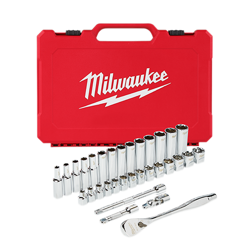 "Milwaukee 48-22-9508 3/8"" Drive 32 Piece Ratchet & Socket Set - Metric Image 1"