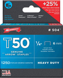 Arrow T50 Staples - 1,250 Count