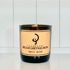 Billecart Rosé Champagne Candle - Upcycled and handmade using a repurposed bottle