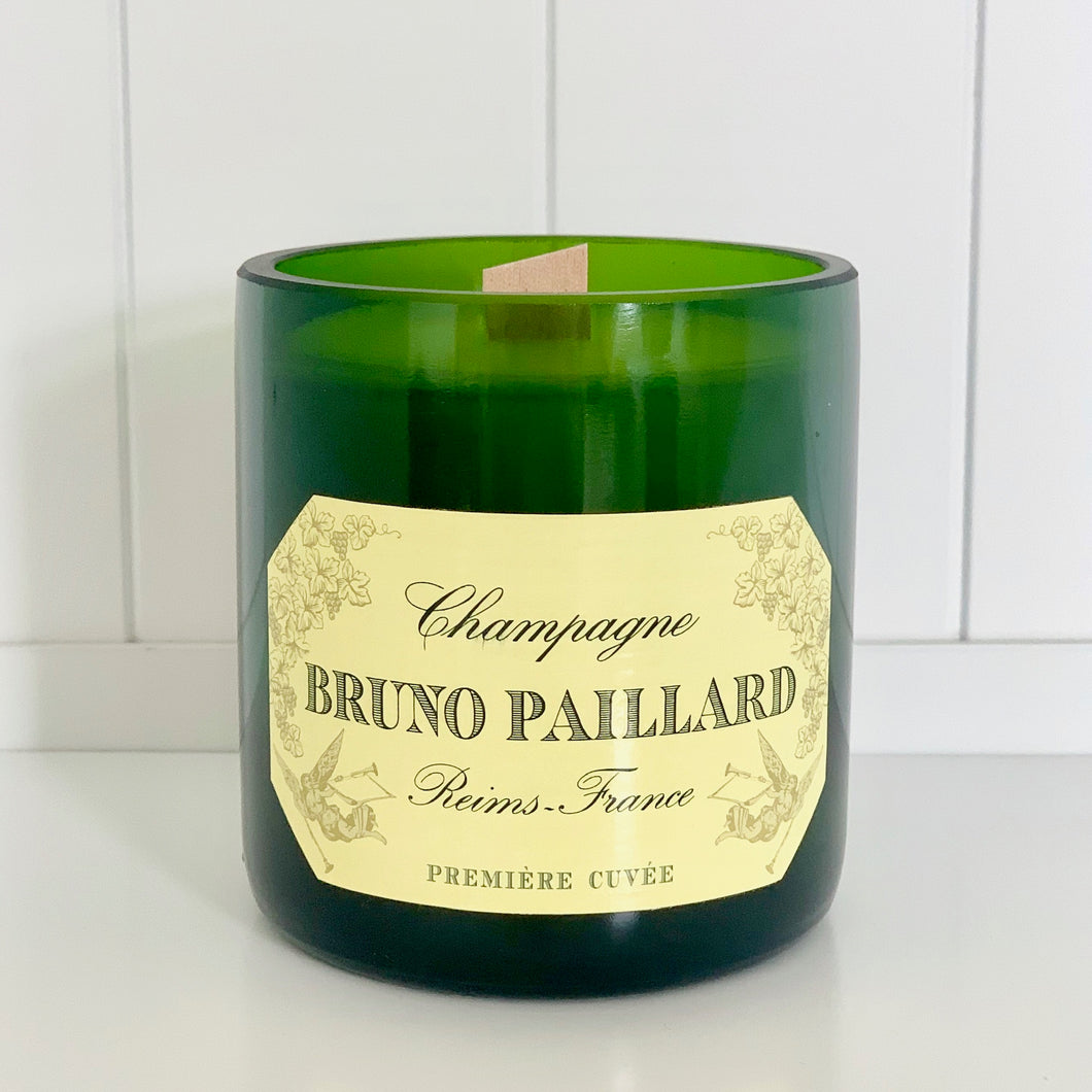 Bruno Paillard Champagne Candle - Upcycled and handmade using a repurposed bottle