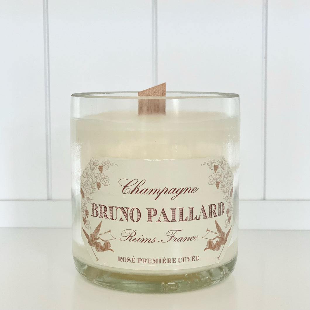 Bruno Paillard Rosé Champagne Candle - Upcycled and handmade using a repurposed bottle