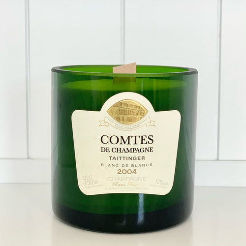 Taittinger Comtes de Champagne Candle - Upcycled and handmade using a repurposed bottle