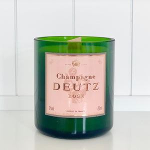 Deutz Rosé Champagne Candle - Upcycled and handmade using a repurposed bottle