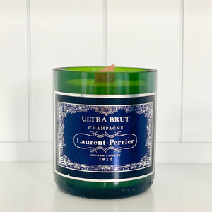 Laurent Perrier Ultra Brut Champagne Candle - Upcycled and handmade using a repurposed bottle
