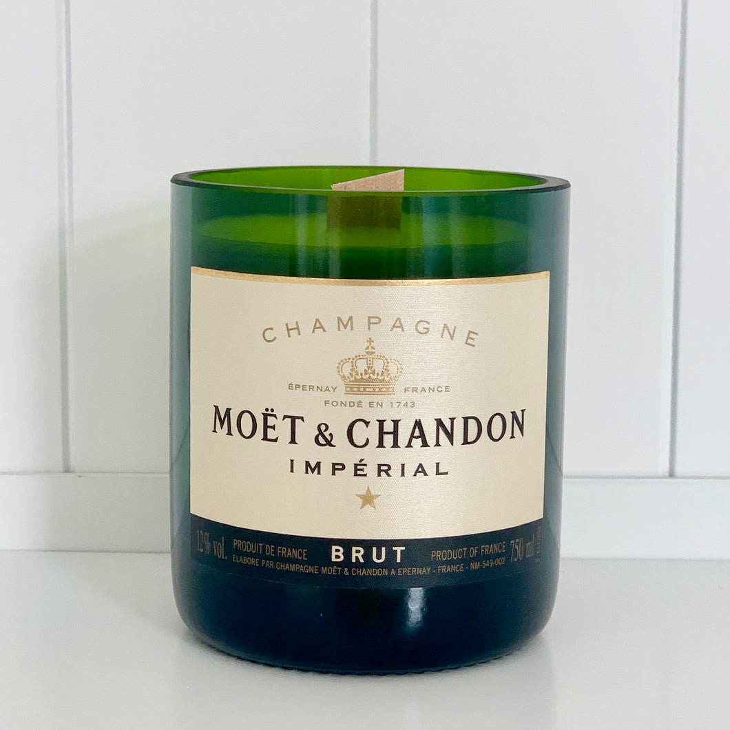 M&C Champagne Candle - Upcycled and handmade using a repurposed bottle