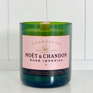 M&C Rosé Champagne Candle - Upcycled and handmade using a repurposed bottle