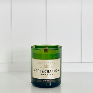 Mini M&C Champagne Candle - Upcycled and handmade using a repurposed bottle