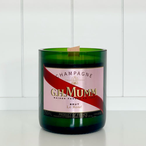 Mumm Rosé Champagne Candle - Upcycled and handmade using a repurposed bottle