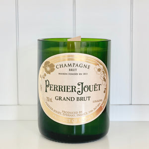 Perrier-Jouët Champagne Candle Upcycled and handmade using a repurposed bottle