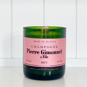 Pierre Gimonnet Rosé Champagne Candle - Upcycled and handmade using a repurposed bottle