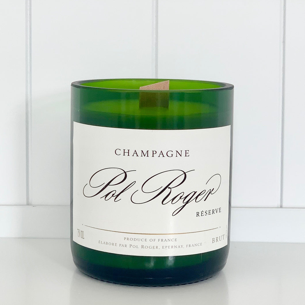 Pol Roger Champagne Candle - Upcycled and handmade using a repurposed bottle