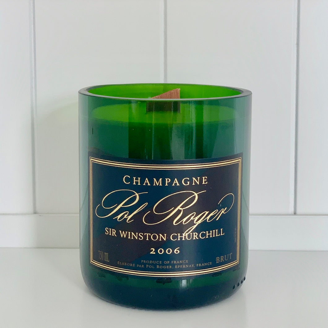 Pol Roger Winston Churchill Champagne Candle - Upcycled and handmade using a repurposed bottle