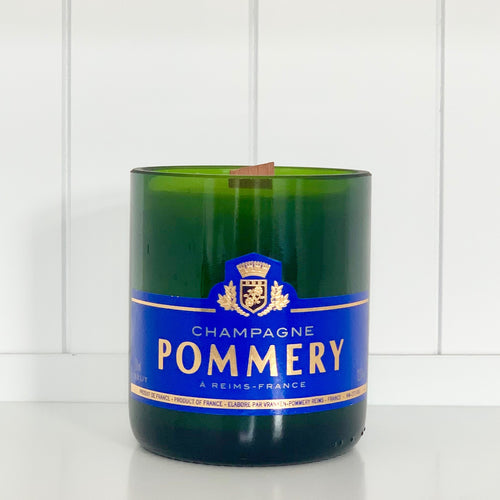 Pommery Champagne Candle - Upcycled and handmade using a repurposed bottle