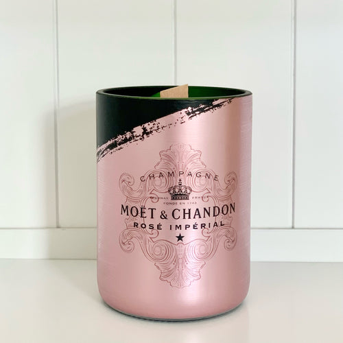 M&C Imperial Rosé Champagne Candle *LIMITED EDITION* - Upcycled and handmade using a repurposed bottle