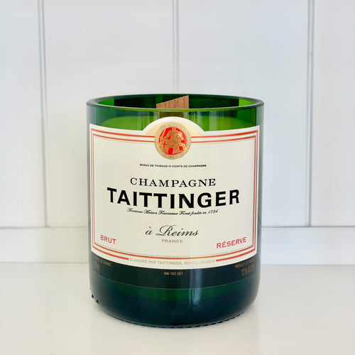 Taittinger Champagne Candle Upcycled and handmade using a repurposed bottle