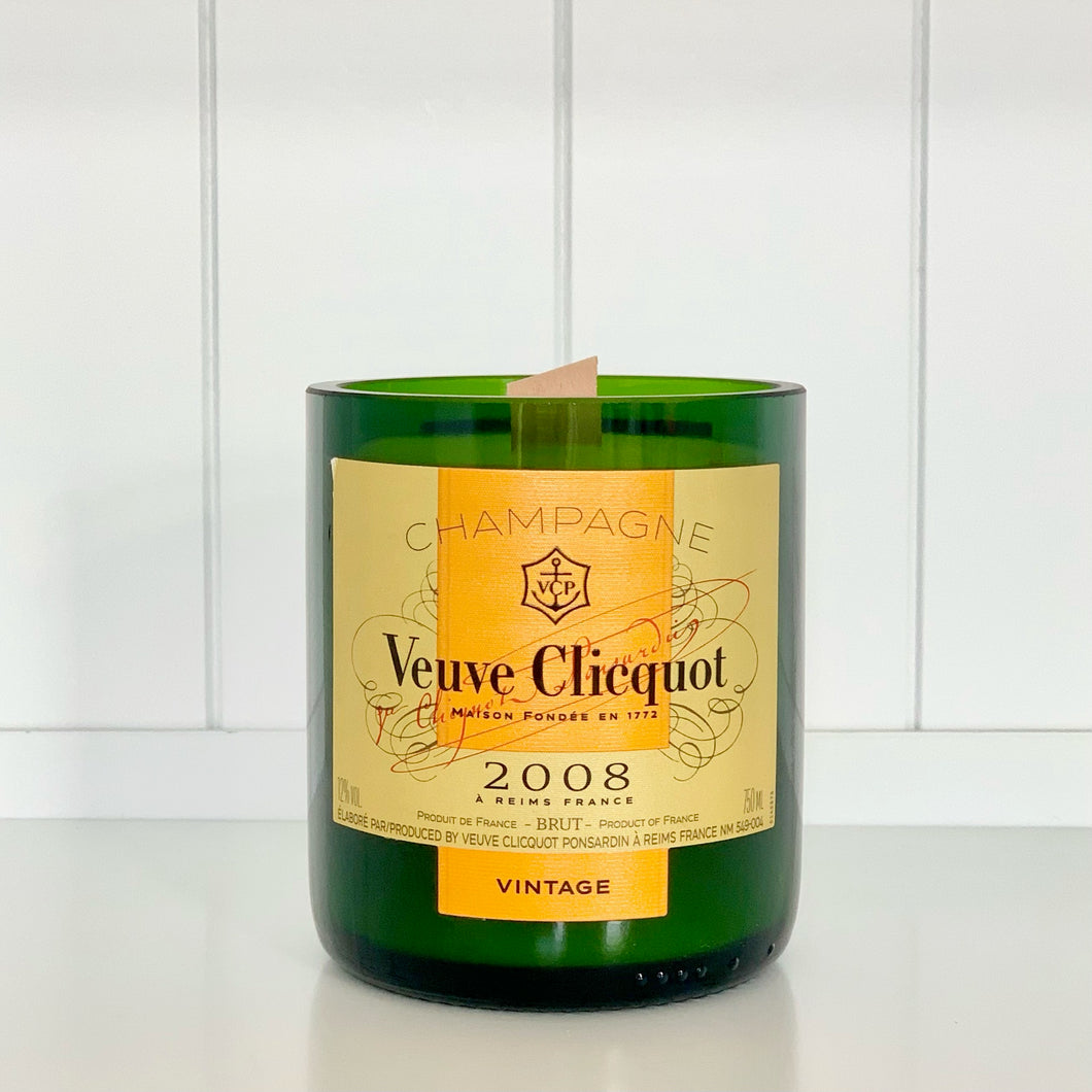 Yellow Label 2008 Vintage Champagne Candle - Upcycled and handmade using a repurposed bottle