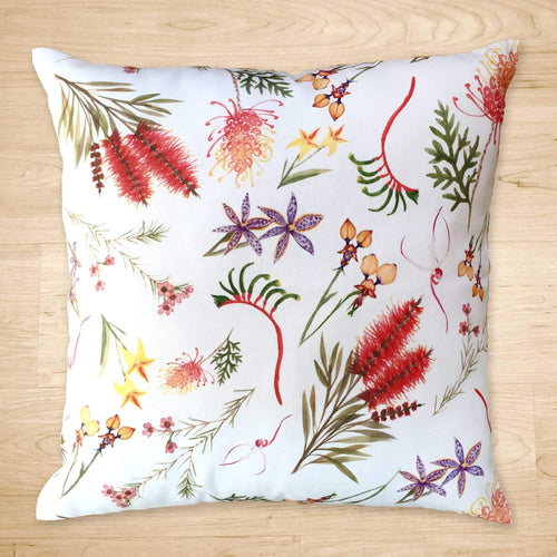 Australian Flora Cushion Cover All Over Cotton Drill Silken Twine Cushion Cover