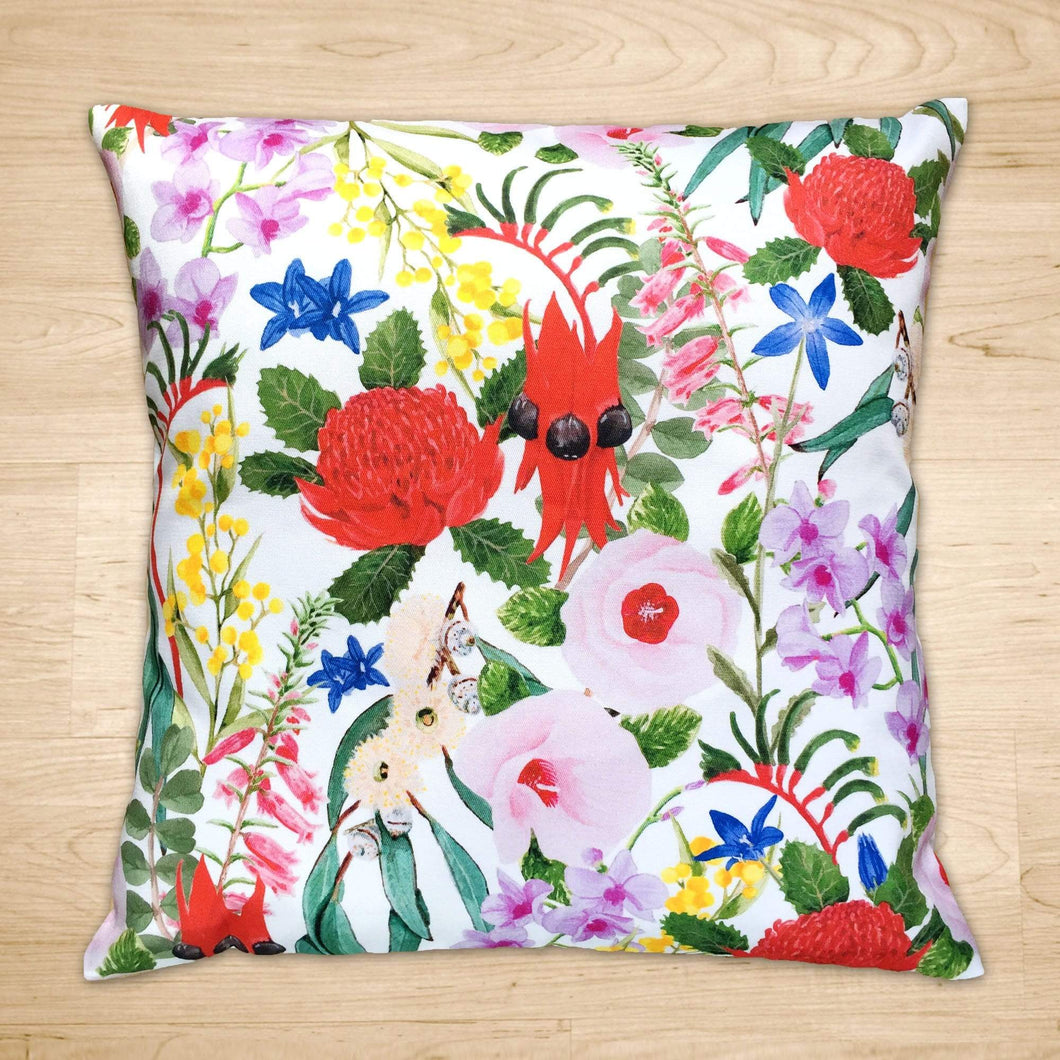 Floral Emblems Cushion Cover Cotton Drill Silken Twine Cushion Cover